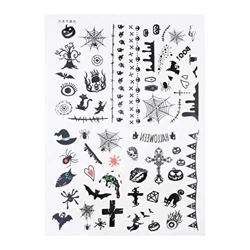 Minkissy Halloween temporäre Tätowierung Aufkleber Gesichtskürbis Spinnennetz Fledermaus kreative Papieraufkleber für Cosplay Partei Maskerade Streich Stütze
