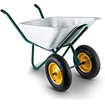 DURAMAXX Heavyload Carretilla para jardín y obra 2 ruedas (capacidad 120l o 320kg de carga, neumáticos de goma, estructura robusta, acero verde)