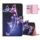 Black Flip Covers for Galaxy Tab A 10.1, Aeeque® Fashionable Dancing Butterflies Pattern Folio Card Slots Kickstand Multifunction Holster Tablet Case for Samsung Galaxy Tab A 10.1 inch (SM-T580/T585)