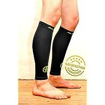 Medias de compresión para la pantorrilla, reducen los calambres en las piernas y proporcionan apoyo en pantorrillas y espinillas, calcetines y mangas para hombres y mujeres con calambres, varices, fascitis plantar, sirve como soporte al talón de Aquiles y a los músculos de la pantorrilla, en talla única, negro, mediano