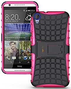 Heartly Flip Kick Stand Spider Hard Dual Rugged Armor Hybrid Bumper Back Case Cover For HTC Desire 820 820S 820Q 820G+ Plus Dual Sim - Cute Pink