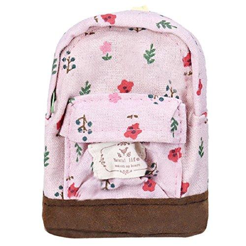 Tongshi Mini lona florales Mochila Mujeres Niñas Niños barato bolsa de la moneda (Rosado)