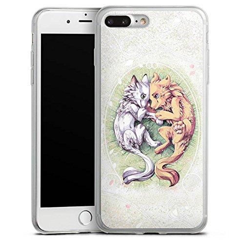Apple iPhone 8 Plus Slim Case Silikon Hülle Schutzhülle Hund Wolf Zeichnung Silikon Slim Case transparent