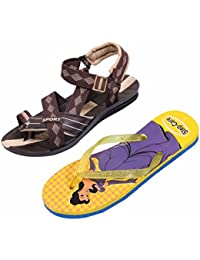 Indistar KRS Men Sandal And Step Care Flip Flop And House Slipper For Women -Set Of 2 Pairs - B071VCBXNW