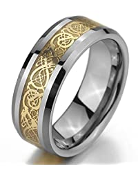 MunkiMix Tungsten Ring Band Silver Gold Two Tone Irish Celtic Knot Dragon Wedding Men