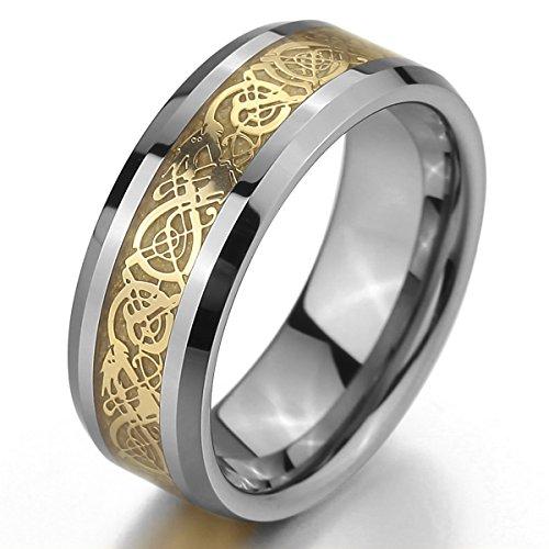 MunkiMix Tungstène Anneau Bague Bague d'Argent Or Deux Ton Celtic Celtique Dragon Mariage Taille 70 Homme