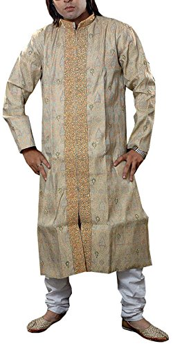 Exotic India Men's Brocaded Wedding Achkan with Intricate Embroider - Golden and...