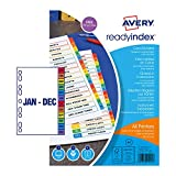 Best Avery Dividers - Avery 02002501 200 gsm A4 Pre-Printed Dividers, Multicoloured Review