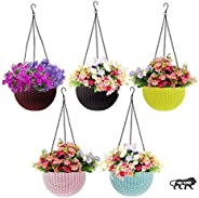 Go Hooked Plastic Hanging Pot, Multicolour, Pot Diameter -7.1 Inch, Pot Height -4.8 Inch, Pot Thickness -3 mm,