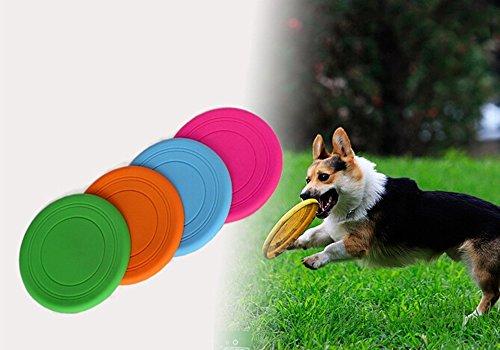 nde Frisbee Flying Disc Zahn beständig Outdoor Dog Training Fetch Spielzeug zufällige Farbe (Flying Disc Spielzeug)