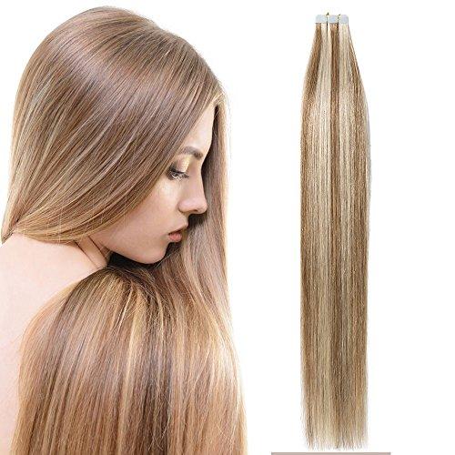 Extension biadesive bionde capelli adesivi veri umani lunghi lisci 20 fasce 50g tape extension human hair 2.5g/fascia - 18
