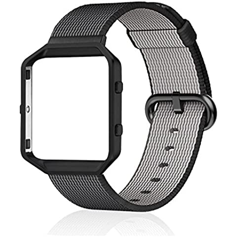 Fitbit Blaze marco + Reemplazo Banda (6,7–8.1Inch), PUGO parte superior más fina de nailon correa Reemplazo Wrist Band Para Fitbit Blaze, color Nylon Band + Frame, Elegant Black