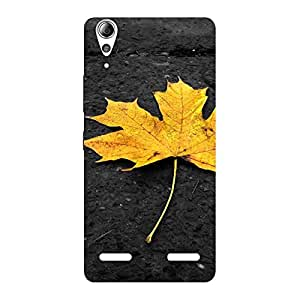 Delighted Yellow Lovely Leaf Back Case Cover for Lenovo A6000