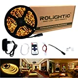 RoLightic Led Strip Lights Warmweiß Warm White 5M 3528 300leds 3000K LED Strip Band Leiste + 11 Key Fernbedienung Dimmer + DC 12V 2A Netzteil