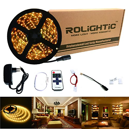 uplights tira LED blanco cálido 5m 3528300LEDS 3000K Tira tira de LED + 11Key mando a distancia + DC 12V 2A Fuente de alimentación, blanco cálido (3000 K), LED Streifen 12.00 volts