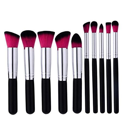 Siswong 10PCS fondation outils cosmétiques de beauté de kit de brosse de maquillage de brosse de poudre
