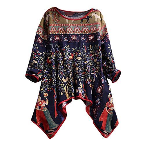 855b35a1e5dd5 Robemon♚Chic Dames Shirt Grande Taille Femme Blouse Rétro Impression  Manches Longues Coton Lin Irrégulier