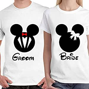 Buy dreambag groom bride unisex couple t shirt online at for Buy couple t shirts online india