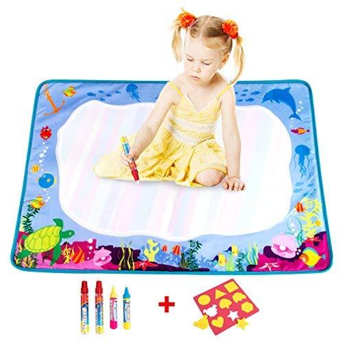 BCMRUN   Wasser Zeichnung Matte,73*47cm malen kritzeln Wassermatte mit 4 Wasserzeichenstiften für Kinder