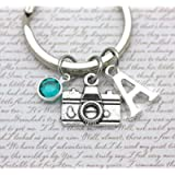 Camera Keyring, Photographer Gift, Photography Personalised Charm Keyring, Initial & Birthstone Crystal
