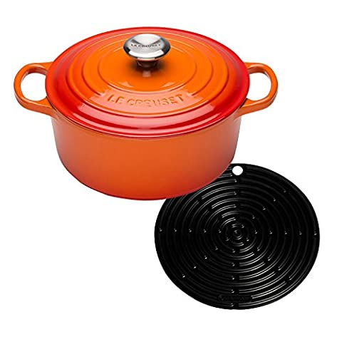Le Creuset Signature Cast Iron Round Casserole with Cool Tool, 24 cm - Volcanic