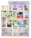 Puppenhaus aus Holz 3 Etagen Möbel Zubehör Spielzeug Puppenvilla Spielhaus #4625