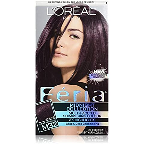 Feria Midnight Collection Hair Color, M32 Violet Soft Black (Packaging May Vary) by L'Oreal (Loreal Feria Midnight Collection)