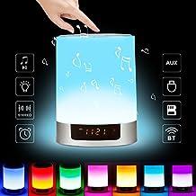 Lámpara Altavoz Bluetooth Wireless, LED Lámpara de Mesa con 7 Modo de Luz sensores táctiles y Multicolor Luz de Noche Con USB Recargable para Mejor Sueño, Regalo para Niño, Sala de Estar y Dormitorio