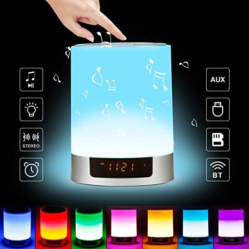 Nachttisch-Lampe mit Bluetooth-Lautsprecher & Berührungssteuerung - kabellose LED-Lampe - mit mehreren Farben die sich ändern - Nachtlicht mit Alarm-Uhr - TF-Kartenschlitz - Freisprechanrufe & Timing-Funktion - für zu Hause und auf Reisen Nachttische Mit Lampen
