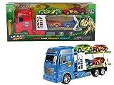 großer Autotransporter Truck mit 4 Race Autos mit Animal Design 44 cm