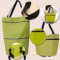 Kicode Viaje Portátil Tela Oxford Plegable Bolsa de la Compra con Carrito de Compras de supermercado Wheels Shopping Rolling Grocery Tote Handbag