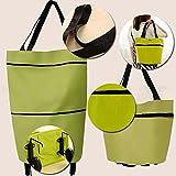 Kicode Reisen Portable Oxford Stoff faltbar Einkaufstasche mit Rädern Einkaufs Grocery Faltbarer Wagen Rollende Einkaufstasche Handtasche