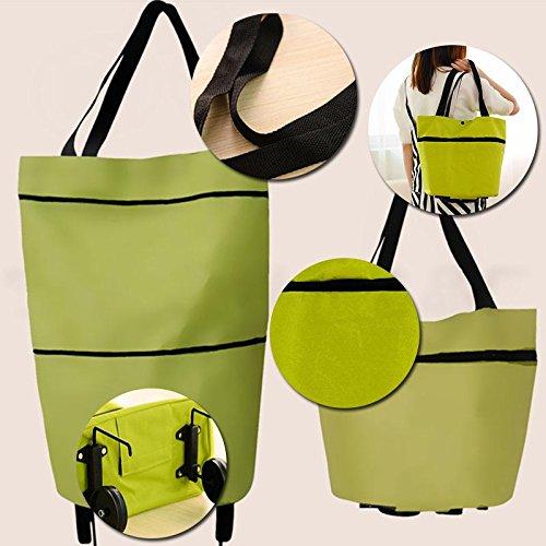 Leaftree Travel Portable Einkaufstasche/Fashion Große Shopping-Aufbewahrungstasche mit Rädern, faltbar, grün