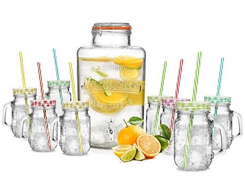 Bluespoon Vintage Getränkespender Set in XXL 9 teilig | Füllmenge des Retro Spenders 8 L | inkl. 8 Gläser mit Deckel und Strohhalmen 450 ml sowie dem Zapfhahn