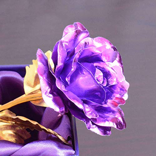 Künstliche Blumen 24K Gold Rose Blume Gold Folie Künstliche Forever Rose mit Liebesbasis und Geschenk-Box, Rose als Geschenk für Valentinstag, Muttertag, Jahrestag, Geburtstag, violett, Standard (Künstliche Blumen Für Die Beerdigung)