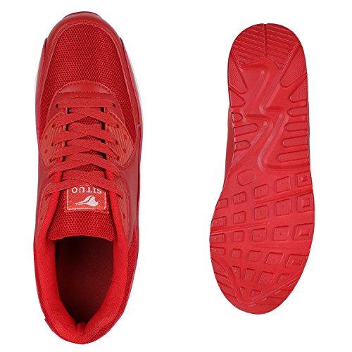 Herren Sportschuhe Laufschuhe Sneakers Runners Profilsohle Rot