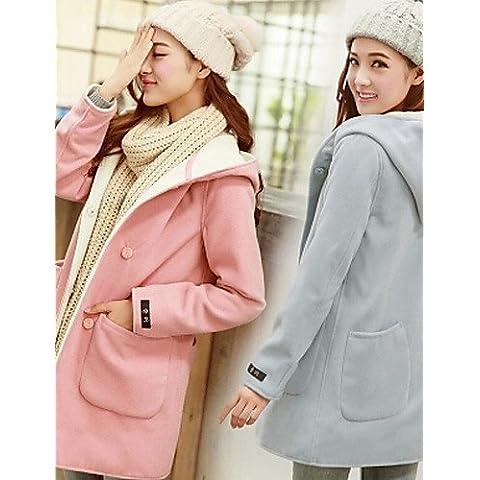 Inverno donna colore solido multi-colore Cappotti e giacche , Sexy / Casual / Lavoro con collo a V e manica lunga,S,luce blu