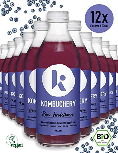 12x 330ml KOMBUCHERY RAW-HEIDELBEERE Bio-Kombucha Fermentiertes Tee-Getränk: Unpasteurisiert Probiotisch Vegan Kalorienarm
