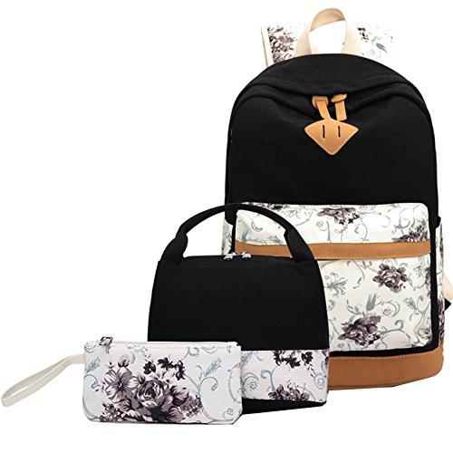 Rucksack set Mädchen Teenager Schulrucksack Canvas Laptop Backpack+Lunch ()
