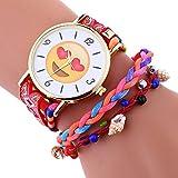 KanLin1986 Elegante lindo emoji patrón señora weave brazalete reloj de pulsera (rojo)