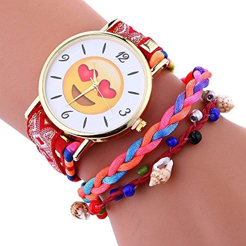 kanlin1986-elegante-lindo-emoji-patron-senora-weave-brazalete-reloj-de-pulsera-rojo