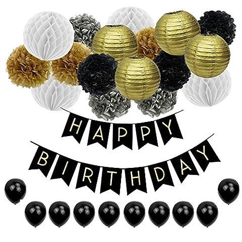 JUSLIN 17 Gold Silver Black Paper Pom Poms Lanternes en papier, 10 ballons et 1 bannière pour la décoration de fête d