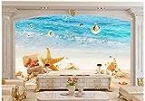BHXINGMU Benutzerdefinierte Wandbilder Strand Muscheln Große Wohnzimmer Tv Sofa Hintergrunddekoration 270Cm(H)×370Cm(W)