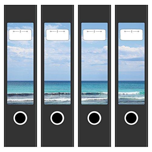 4 x Akten-Ordner Etiketten / Aufkleber / Rücken Sticker / mit Design Motiv Meer am Strand / für breite Ordner / selbstklebend / 6cm breit
