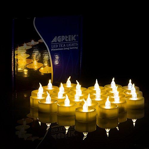 AGPtek Lot 24 Velas LED a Pilas Incorporadas, Blanca Fría, con Temporizador, Sin Fuego, Velas Electrónicas Decorativas para Bodas Fiestas