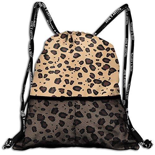 Juzijiang Brown Leopard Pattern Fashion Beam Mouth Shoulder Bag Travel Drawstring Backpack Shoulder for Women Brown Leopard Fleece