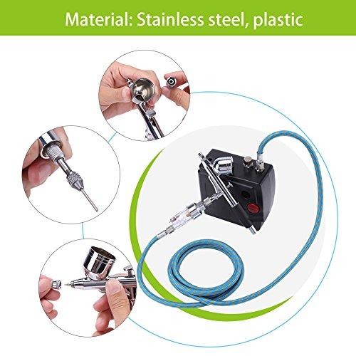 Alomejor Airbrush-Kompressor-Kit Dual-Action-Top-Feed-Airbrush-Set Pneumatisches Nail Art-Malwerkzeug(EU Plug) -