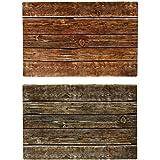 Lot de 6Set de Table Bicolore Effet bois Planken + chiffon microfibre 145080