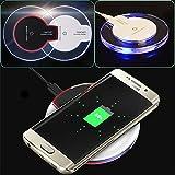 ALTech Kabelloses Ladegerät Crystal Charging Pad mit Blauem Licht für Samsung S7 / S6, iPhone 8 8Plus (weiß)
