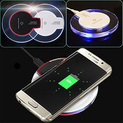 ALTech Kabelloses Ladegerät Crystal Charging Pad mit Blauem Licht für Samsung S7 / S6, iPhone 8 8Plus (weiß) - Htc Phone Pad